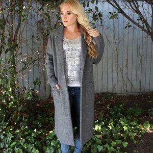 New-Forever-21-Grey-Wool-Long-Pea-Coat-Medium